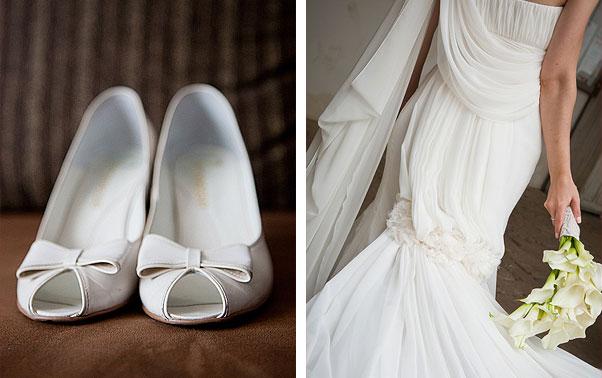 Pantofi mireasa si rochie de mireasa detaliu